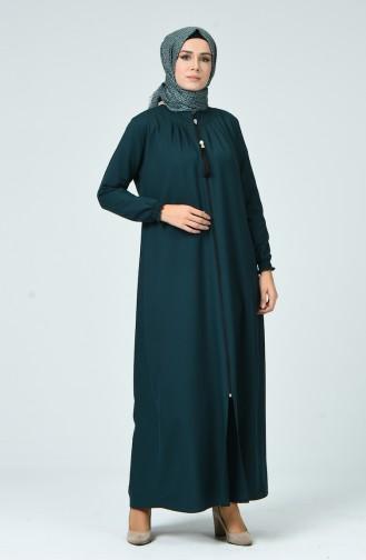 Abaya Plissée 2136-04 Vert émeraude 2136-04
