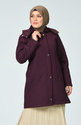 Plus Size Lined Coat 1062-05 Dark damson  1062-05