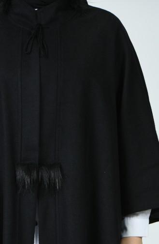 Poncho en Molleton Avec Fourrure Grande Taille 6025-01 Noir 6025-01