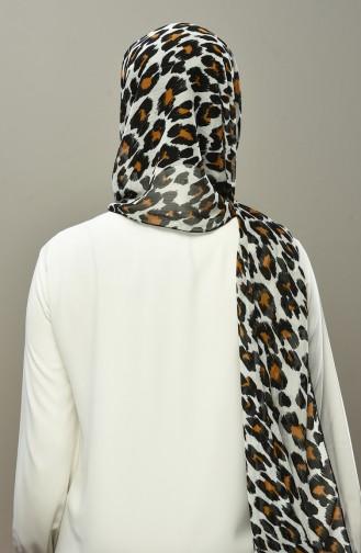 Leopard Pattern Chiffon Shawl Ecru 4559-02