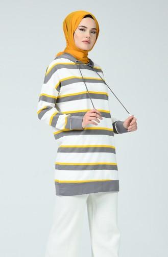 Gestreiftes Sweatshirt 0792-01 Naturfarbe Grau 0792-01
