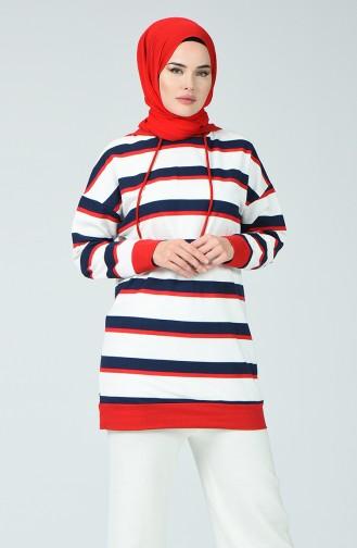 Striped Sweatshirt Ecru Navy Blue 0792-02