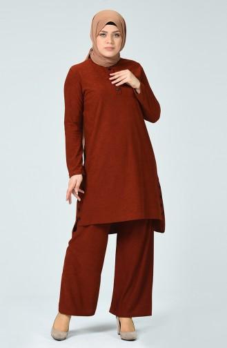 Fitillli Tunik Pantolon İkili Takım 7028-01 Kiremit 7028-01