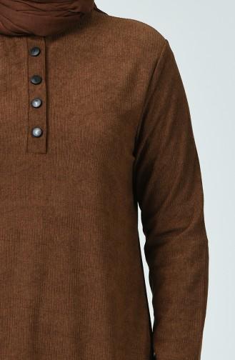 Fitillli Tunik Pantolon İkili Takım 7028-04 Kahverengi 7028-04