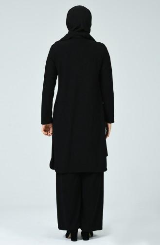 Fitillli Tunik Pantolon İkili Takım 7028-07 Siyah 7028-07