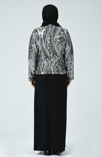 Robe de Soirée à Paillettes Grande Taille 6292-01 Noir Fumé 6292-01