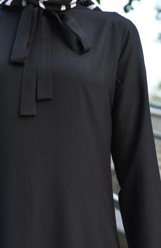 Kravat Yaka Asimetrik Tunik 10145-09 Siyah