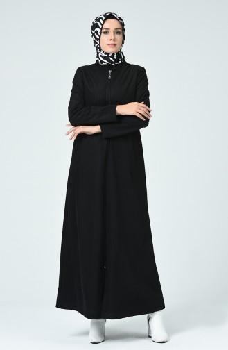 Samt Hijab-Mantel mit Reissverschluss 0022-01 Schwarz 0022-01