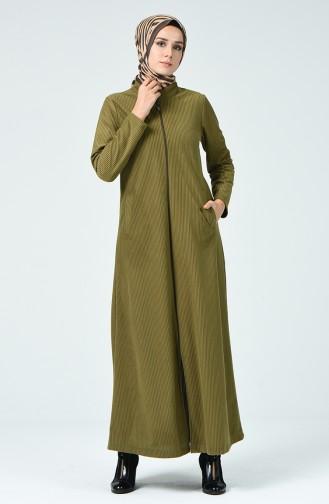 Samt Hijab-Mantel mit Reissverschluss 0022-02 Khaki 0022-02