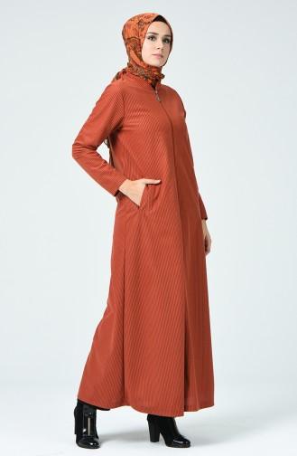 Samt Hijab-Mantel mit Reissverschluss 0022-04 Ziegelrot 0022-04