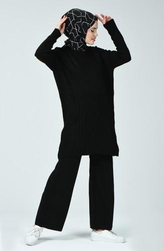 Bat Sleeve Sweater Trousers Double Suit 7094-04 Black 7094-04