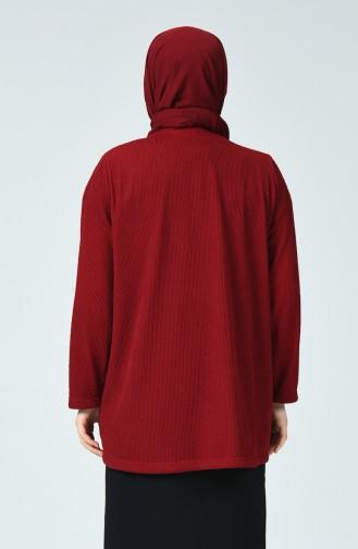 Büyük Beden Bluz Ceket İkili Takım 5068-01 Bordo