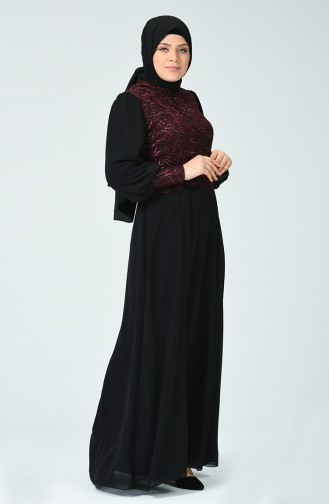Robe de Soirée a Paillettes Grande Taille 1313-01 Bordeaux 1313-01