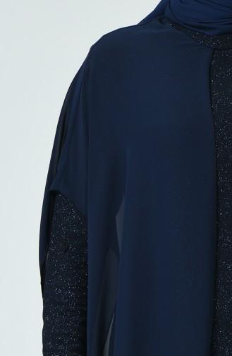 Robe de Soirée à Paillettes Grande Taille 6287-02 Bleu Marine 6287-02