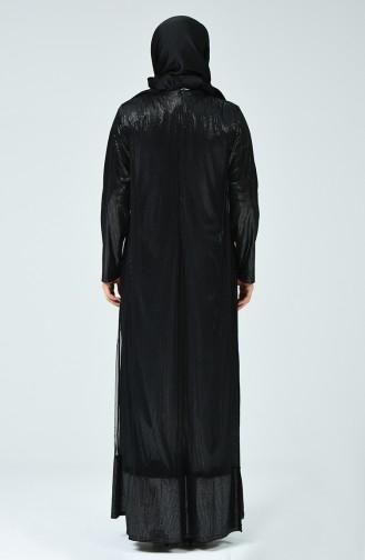 Robe de Soirée Jacquard Grande Taille 6291-01 Noir Argent Gris 6291-01