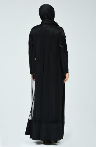 Robe de Soirée Jacquard Grande Taille 6291-02 Noir 6291-02