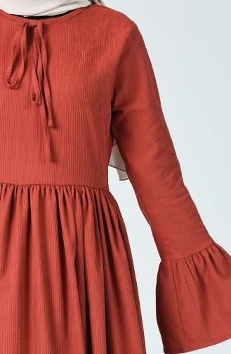 Büzgülü Kadife Elbise 81757-01 Kiremit