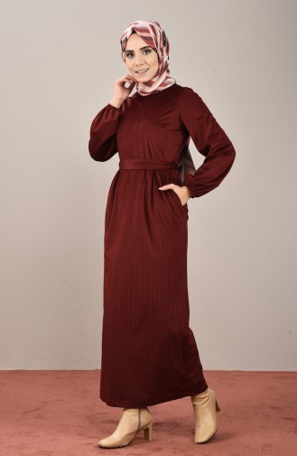 Velvet Belted Dress Bordeaux 8155-06