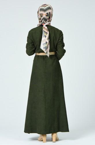 Khaki Hijap Kleider 9046-02