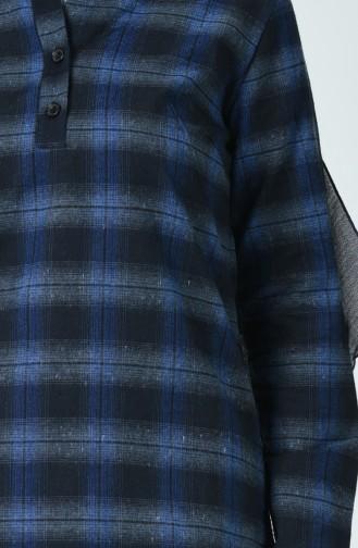 Kareli Kışlık Tunik 5420-04 Lacivert Saks