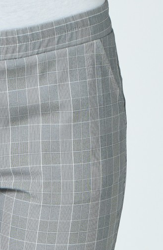 Plaid Patterned Pants Gray White 5002A-05