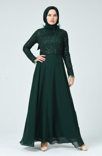 Feathered Evening Dress Emerald Green 5237-01