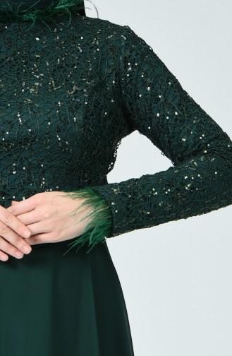 Tüylü Abiye Elbise 5237-01 Zümrüt Yeşili
