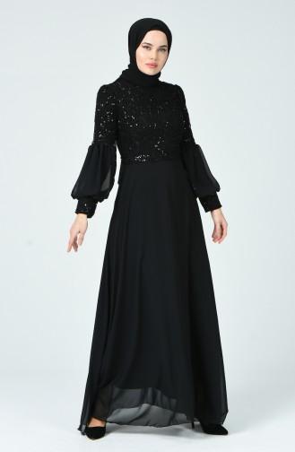 Payetli Abiye Elbise 5238-01 Siyah