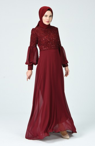 Sequined Evening Dress Bordeaux 5238-03