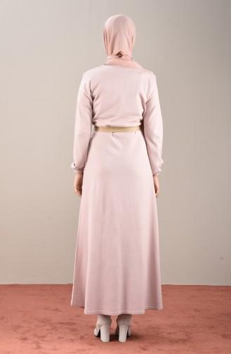 فستان بأكمام مطاط باودر 4189-04