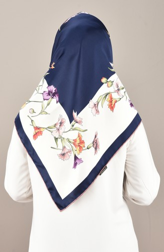 Patterned Rayon Scarf Onion Peel Navy Blue 2405-01