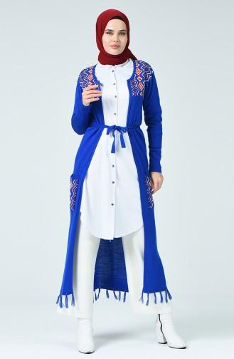 Long Gilet Tricot Avec Ceinture 30661-01 Bleu Roi 30661-01