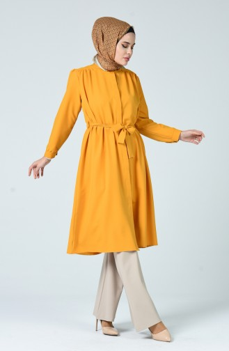 Pleated Medium length Tunic Mustard 1040-06