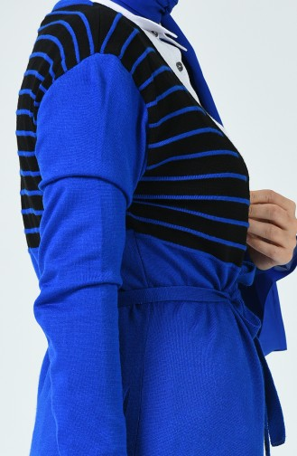 Long Gilet Sans Manches Tricot Avec Ceinture 3023-08 Bleu Marine 3023-08