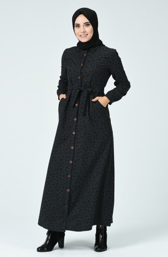 Boydan Düğmeli Kuşaklı Elbise 9002A-03 Füme 9002A-03