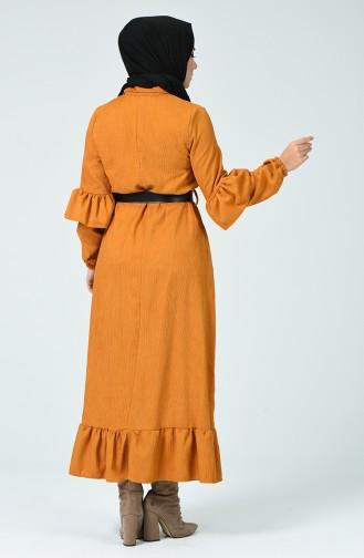 Robe à Ceinture 5916-03 Moutarde Foncé 5019-03