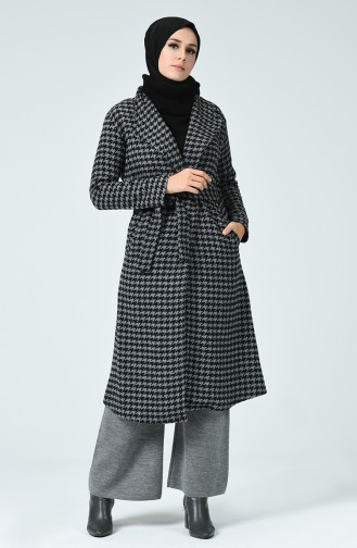Gemusterter Mantel aus Fleece  6021-01 Grau Schwarz 6021-01