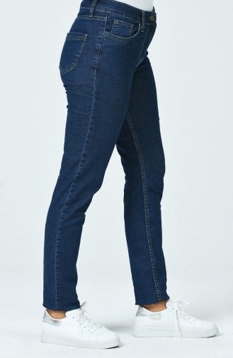 بنطال جينز بقصة مستوية بلون أزرق غامق 7501-02