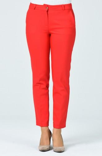 Klasik Cep Detaylı Pantolon 1130PNT-04 Kırmızı