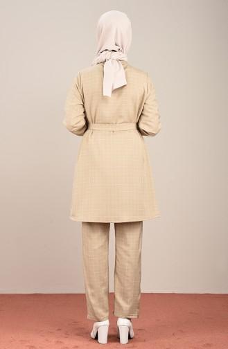 Kareli Tunik Pantolon İkili Takım 1026-05 Bej