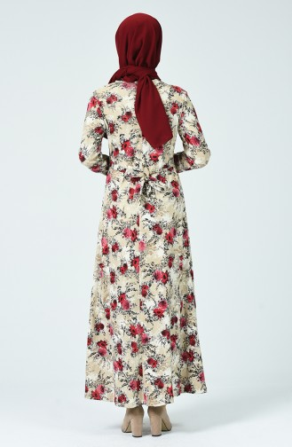 Robe Avec Ceinture 1332-02 Vison Bordeaux 1332-02