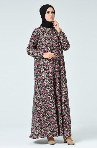 Desenli Elbise 1453B-01 Siyah Fuşya