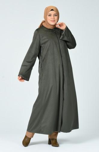 Grosse Grösse Abaya aus Samt  0025-01 Khaki 0025-01