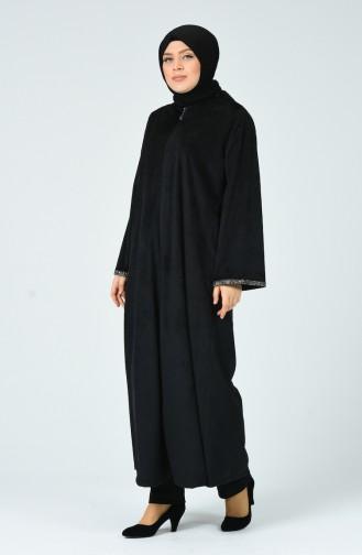 Grosse Grösse Abaya aus Samt  0025-03 Schwarz 0025-03