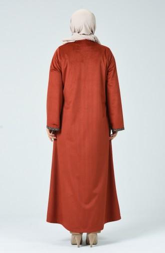 Grosse Grösse Abaya aus Samt  0025-04 Ziegelrot 0025-04