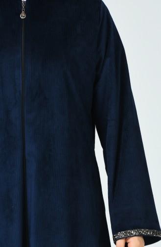 Grosse Grösse Abaya aus Samt 0025-05 Dunkelblau 0025-05