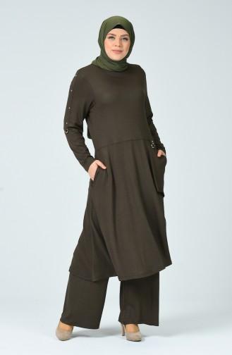 Ensemble Deux Pieces Tunique Pantalon avec Poches Grande Taille 0152-03 Khaki 0152-03