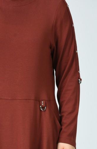 Big Size Pocket Tunic Trousers Double Set Brick Color 0152-01