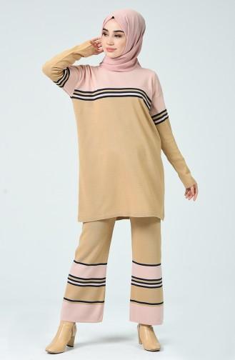 Tunique Pantalon Tricot 0007-01 Café au Lait 0007-01
