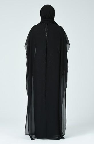 Robe de Soirée à Paillettes Grande Taille 6287-04 Noir Argent 6287-04